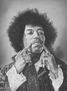 "Saatchi Art Artist TEODOR BOZHINOV; Drawing, ""Portrait of Jimi Hendrix"" #art"