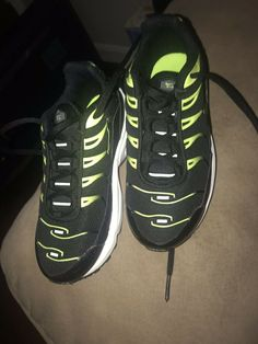 9d37a7e4 Nike Air Max Plus Youth Size 13 Black Neon Sneakers #fashion #clothing # shoes