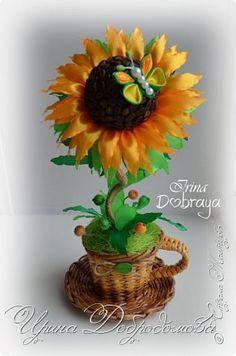 Бонсай топиарий Моделирование конструирование Цумами Канзаши Солнечные цветы Бусины Клей Кофе Ленты фото 1