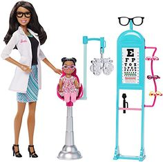 Explore new careers in depth with the Barbie careers play sets. From medicine to teaching Barbie makes anything possible! the Barbie careers eye doctor set brings everything info focus with a special... Barbie Doll Set, Barbie Toys, Barbie Dream, Nurse Barbie, Ken Doll, Doctor Coat, Eye Doctor, Barbie Playsets, Barbie Furniture