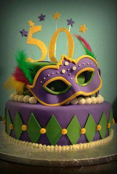 Masquerade/Mardi Gras cake by Lana Cakes