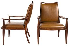 Pair of handmade John Nyquist walnut armchairs with leather upholstery. USA, 1968.