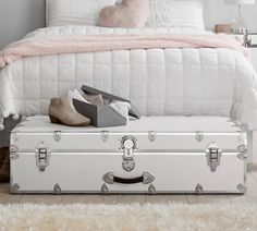Maximize storage under your bed with a classic dose of style! Our quality-made Dorm Trunks are crafted from birch hardwood for enduring design and durability that you'll appreciate for years to come. It's built with a sturdy base and sleek trim that gives your space a modern feel. Pottery Barn Teen Trundle Dorm Trunk Dorm Essentials, Bed Bench, Pottery Barn Teen, Pbteen, Your Space, Storage Chest, Hardwood, Trunks, Birch