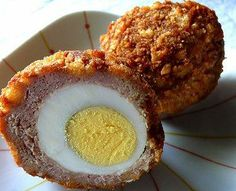 Scotch Eggs - 12 hard-boiled eggs, well chilled 2 lbs sausage meat 1/2 cup flour 4 eggs, beaten 1 1/2 cups panko breadcrumbs vegetable oil, frying (about a cup) Read more: http://www.food.com/recipe/scotch-eggs-214097?oc=linkback