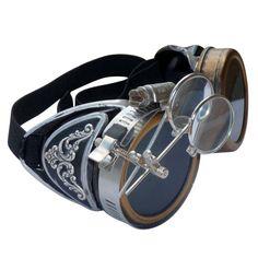 Steampunk Victorian Shotgun Shell Welding Silver Goggles Scissors Lens Cosplay