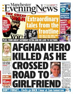 Manchester Evening News front page for Saturday, October 26 for both north and south editions..