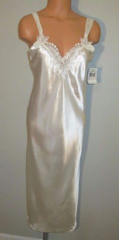 de6b748287753 Vtg 90's California Dynasty off White Shiny Satin Nightgown Gown Chiffon S  for sale online | eBay