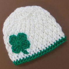 St Patricks Day crochet beanie hat for baby or toddler - lucky four leaf clover shamrock - Handmade by CrochetToZ