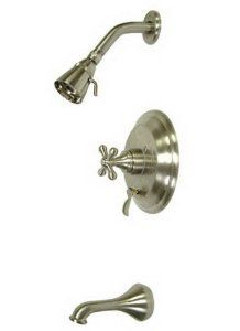 Kingston Brass KB36380AX Restoration Tub and Shower Faucet with Metal Cross Handle, Satin Nickel - Amazon.com
