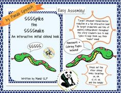 Spike the Snake: Interactive Book for Phonological ProcessingInitial sblend: sk (1 book)This a fun and interactive book that targets initial sblends.  It come with a unique snake piece (Spike) that the student gets to hold throughout the book as a cue to use their /s/ sound in initial sblend words.