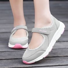 d6c28f90d Light Breathable Female Women Sneakers Year old Healthy Mesh Flats Antislip  Mother Girls Waking Moccasins Ladies