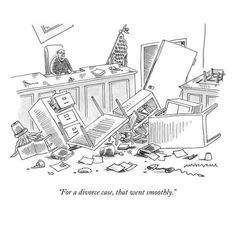 """Premium Giclee Print: """"For a divorce case, that went smoothly."""" - New Yorker Cartoon by Mick Stevens : Humor Legal, In Laws Humor, Divorce Memes, Divorce Lawyers, Family Law Advice, Beagle, Law School Humor, Lawyer Humor, Family Law Attorney"""