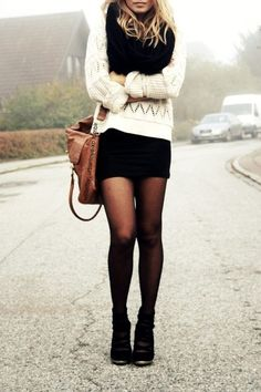 Black tights, black mini, black knitted scarf and white knit sweater, brown leather handbag