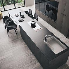 Archi Design, Küchen Design, House Design, Interior Design Layout, Layout Design, Kitchen Island Dining Table, Family Kitchen, Modern Kitchen Design, Residential Architecture