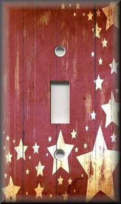 Single Light Switch Plate Cover - Country Home Decor - Aged Barn Stars - Red