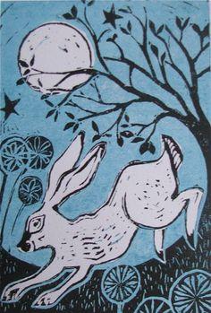 Hare Moon.....Jo Wright. - beautiful Hare and full moon!