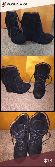Fringe Black Booties Gently used faux fur booties. They have so much life to them! Shoes Ankle Boots & Booties
