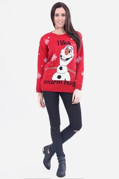 """Need That Look - Red Olaf """"I Like Warm Hugs"""" Christmas Jumper (http://www.needthatlook.com/red-warm-hugs-christmas-jumper/)"""