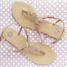 Bohemian Boho Chic Wedding Sandals with Rose Gold Round Crystals Jewels Bridal Thong Shoes Destination Beach Wedding Something Blue