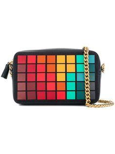 square grid shoulder bag