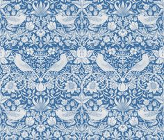 William Morris ~ Strawberry Thief ~ Blue  ~ by PeacoquetteDesigns on Spoonflower ~ bespoke fabric, wallpaper, wall decals & gift wrap ~ Join PD  ~ https://www.Peacoquette.com #Spoonflower #Peacoquette