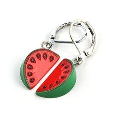 """fruchtige Ohrhänger """"Wasser - Melone"""" von SCHMUCKZUCKER witzige Modeschmuck Ohrringe silber-farben rot grün SCHMUCKZUCKER http://www.amazon.de/dp/B01DOCRDVY/ref=cm_sw_r_pi_dp_-Ex.wb0FS1767"""