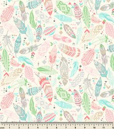 Snuggle Flannel Fabric-Aztec Feathers Pastel