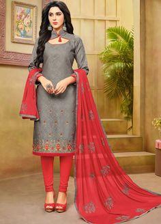 Smoke Grey Cotton Jacquard Dress Material