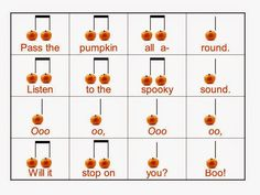 Pass the Pumpkin Song and Activity with slides to demonstrate iconic to actual rhythm notation.  Perfect for first grade. Free