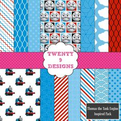 Thomas the Tank Engine Inspired Digital Paper Pack - INSTANT DOWNLOAD by Twenty9Designs on Etsy