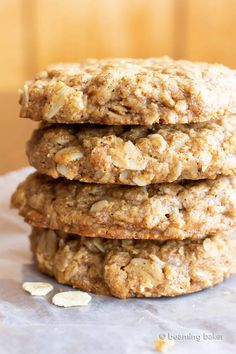 Oat Cookie Recipe, Oatmeal Cookie Recipes, Oats Recipes, Vegan Dessert Recipes, Whole Food Recipes, Healthy Desserts, Baking Recipes, Steel Cut Oatmeal Cookies, Vegan Oatmeal Cookies