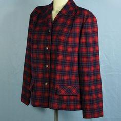 Vtg 50s Pendleton XL Traveller Wool Jacket Red Tartan Plaid RARE Pewter Buttons  #Pendleton