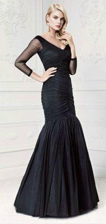 Truly Zac Posen Long Sleeve Illusion Trumpet Taffeta Gown Style ZP281434 #davidsbridal #blacktiewedding