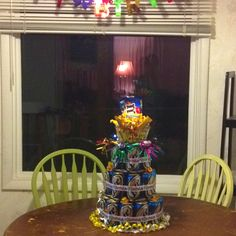 """Husbands birthday """"cake"""" change the beer to pepsi & I am game."""