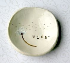 Catch All Dish: Personalized Bowl, Ring Dish, Wish Bowl, Dandelion Art, Birthday Gifts for Mom Pottery Painting, Ceramic Painting, Pottery Art, Birthday Gifts For Her, Art Birthday, Dandelion Art, Shades Of Light Blue, Ring Dish, Air Dry Clay