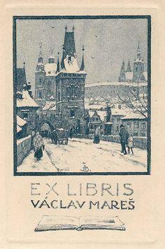 ≡ Bookplate Estate ≡ vintage ex libris labels︱artful book plates - view of Charles Bridge, Prague, unknown artist