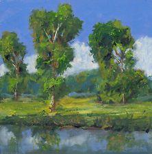original art  landscape work 8x8  Daily plein air oil  painting by Ken Burnside