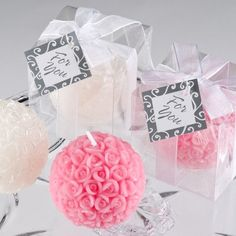 Rose Ball Candle Wedding Favor Candle Wedding Favors