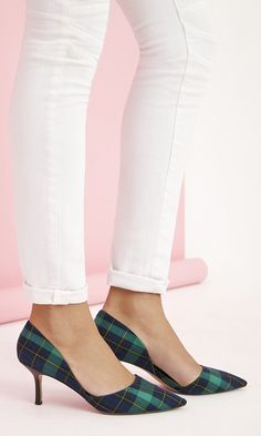 """Classic plaid d""""Orsay pumps with comfortable mid heels"""