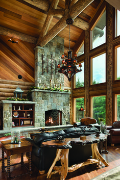 Love the different elements used here. The beams and different wood are great!