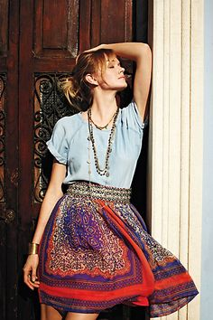 casual denim t with romantic floral skirt