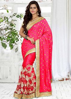 Pink Faux Georgette Wedding Saree 56081