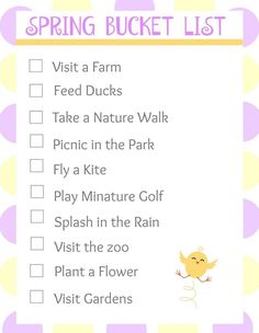 FREE PRINTABLE. Free Spring Bucket List Printable. Fun activities and ideas for kids and families.
