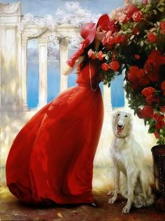 Beautiful Paintings by union of the two artists - Andrei Belichenko & Maria Boohtiyarova. Andrei Belichenko was born in 1974 in Karaganda, Kazahstan. He Master Of Fine Arts, Art Et Illustration, Claude Monet, Beautiful Paintings, Female Art, Lady In Red, Amazing Art, Art Photography, Inspiration
