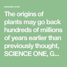 The origins of plants may go back hundreds of millions of years earlier than previously thought, SCIENCE ONE, GOD ZERO
