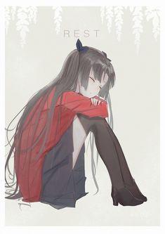 Fate Stay Night Characters, Anime Manga, Anime Art, Fate Stay Night Rin, Fate Archer, Type Moon Anime, Tohsaka Rin, Fate Anime Series, Stars At Night