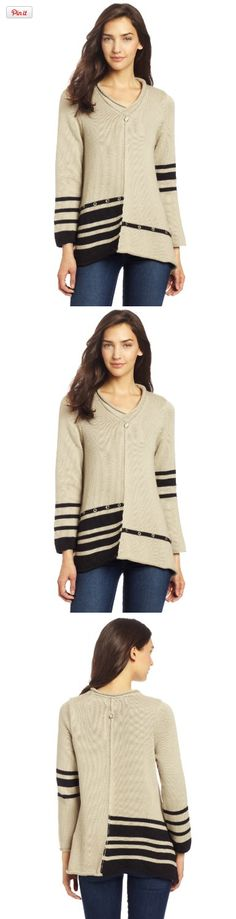 Pure Handknit Women's Lifestyle Stripe Pullover, Vintage Dust, Small, Reach for our single knit. A-line tunic and take your outfit from ordinary to extraordinary. It has a clean look with a modern striped design. Flattering v neck. Always with black stripes. Single knit..., #Apparel, #Pullovers, http://www.pylinks.com/store/item-B00ARDC2XI