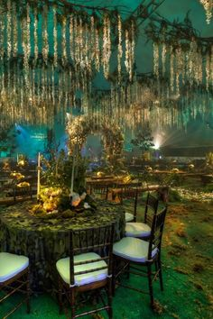 A forest themed wedding reception that seems to remind me of an imaginary section of Atlantis ♥