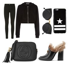 """""""Simple Black"""" by annisanfadhilla on Polyvore featuring Gucci, RetroSuperFuture, 7 For All Mankind and Givenchy"""
