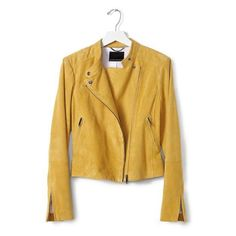 Yellow Suede Moto Jacket | Banana Republic